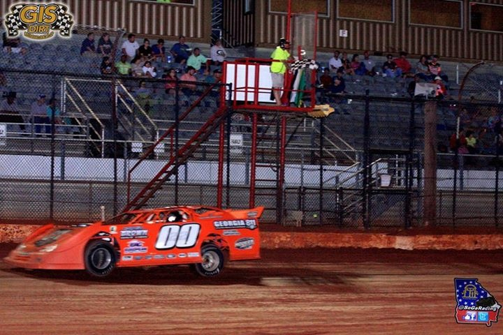 Russell Brown, Jr. scores the $1,200 win in Limited Late Model action at Golden Isles (GA) Speedway on May 20, 2017 - South Georgia Racing Photo.